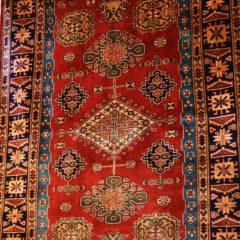 Red Silk/Wool Kazak Tribal